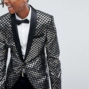 ASOS Skinny Blazer - Black Velvet & Sequins - NEW